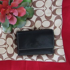 Black Leather Coach Card Wallet